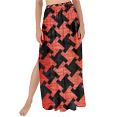 Houndstooth2 Black Marble & Red Brushed Metal Maxi Chiffon Tie Up Sarong
