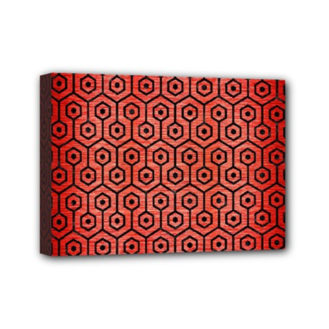 Hexagon1 Black Marble & Red Brushed Metal Mini Canvas 7  X 5  by trendistuff