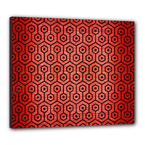 Hexagon1 Black Marble & Red Brushed Metal Canvas 24  X 20  by trendistuff
