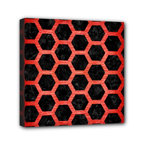 Hexagon2 Black Marble & Red Brushed Metal (r) Mini Canvas 6  X 6  by trendistuff