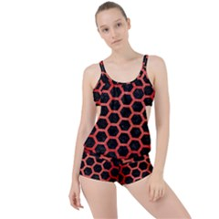 Hexagon2 Black Marble & Red Brushed Metal (r) Boyleg Tankini Set