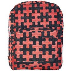 Puzzle1 Black Marble & Red Brushed Metal Full Print Backpack