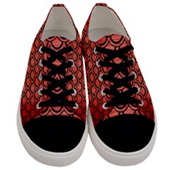Scales2 Black Marble & Red Brushed Metal Men s Low Top Canvas Sneakers