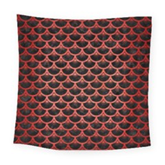 Scales3 Black Marble & Red Brushed Metal (r) Square Tapestry (large) by trendistuff