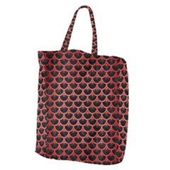 Scales3 Black Marble & Red Brushed Metal (r) Giant Grocery Zipper Tote by trendistuff