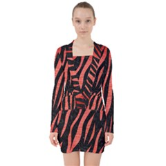 Skin3 Black Marble & Red Brushed Metal (r) V Neck Bodycon Long Sleeve Dress