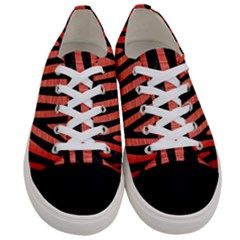 Skin4 Black Marble & Red Brushed Metal (r) Women s Low Top Canvas Sneakers