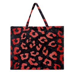 Skin5 Black Marble & Red Brushed Metal Zipper Large Tote Bag by trendistuff