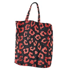 Skin5 Black Marble & Red Brushed Metal Giant Grocery Zipper Tote by trendistuff