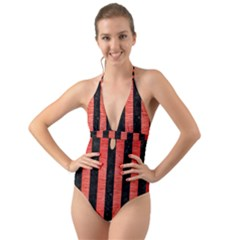 Stripes1 Black Marble & Red Brushed Metal Halter Cut Out One Piece Swimsuit