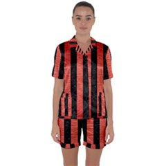 Stripes1 Black Marble & Red Brushed Metal Satin Short Sleeve Pyjamas Set by trendistuff