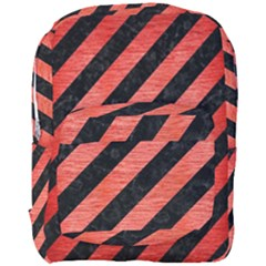 Stripes3 Black Marble & Red Brushed Metal (r) Full Print Backpack