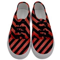 Stripes3 Black Marble & Red Brushed Metal (r) Men s Classic Low Top Sneakers