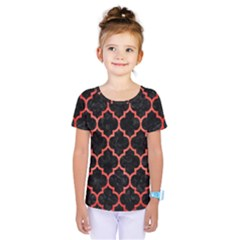 Tile1 Black Marble & Red Brushed Metal (r) Kids  One Piece Tee