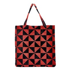 Triangle1 Black Marble & Red Brushed Metal Grocery Tote Bag by trendistuff