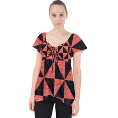 Triangle1 Black Marble & Red Brushed Metal Lace Front Dolly Top
