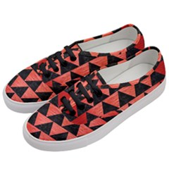Triangle2 Black Marble & Red Brushed Metal Women s Classic Low Top Sneakers by trendistuff