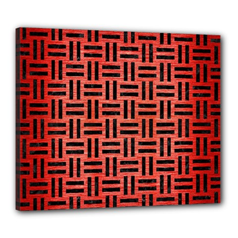 Woven1 Black Marble & Red Brushed Metal Canvas 24  X 20  by trendistuff