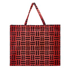 Woven1 Black Marble & Red Brushed Metal Zipper Large Tote Bag by trendistuff