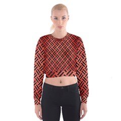 Woven2 Black Marble & Red Brushed Metal Cropped Sweatshirt