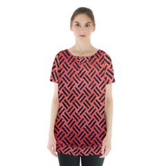 Woven2 Black Marble & Red Brushed Metal Skirt Hem Sports Top