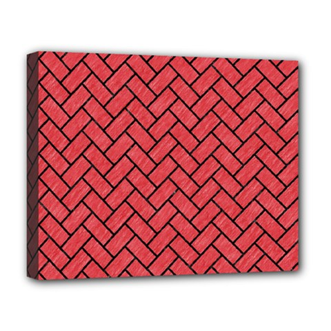 Brick2 Black Marble & Red Colored Pencil Deluxe Canvas 20  X 16   by trendistuff