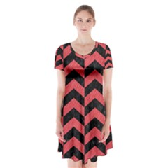 Chevron2 Black Marble & Red Colored Pencil Short Sleeve V Neck Flare Dress