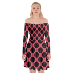 Circles2 Black Marble & Red Colored Pencil Off Shoulder Skater Dress by trendistuff