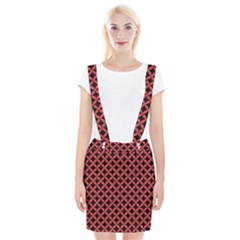 Circles3 Black Marble & Red Colored Pencil (r) Braces Suspender Skirt