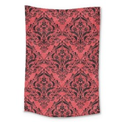 Damask1 Black Marble & Red Colored Pencil Large Tapestry by trendistuff
