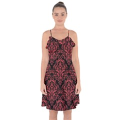 Damask1 Black Marble & Red Colored Pencil (r) Ruffle Detail Chiffon Dress