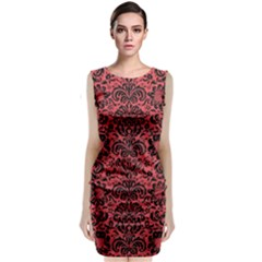 Damask2 Black Marble & Red Colored Pencil Classic Sleeveless Midi Dress
