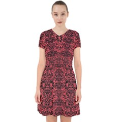 Damask2 Black Marble & Red Colored Pencil Adorable In Chiffon Dress