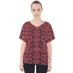 Damask2 Black Marble & Red Colored Pencil (r) V Neck Dolman Drape Top