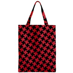 Houndstooth2 Black Marble & Red Colored Pencil Zipper Classic Tote Bag by trendistuff