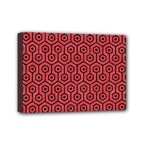 Hexagon1 Black Marble & Red Colored Pencil Mini Canvas 7  X 5  by trendistuff