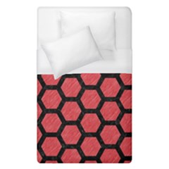Hexagon2 Black Marble & Red Colored Pencil Duvet Cover (single Size) by trendistuff