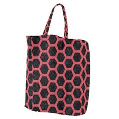 Hexagon2 Black Marble & Red Colored Pencil (r) Giant Grocery Zipper Tote