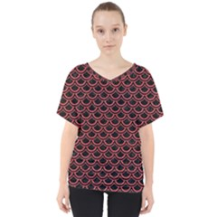 Scales2 Black Marble & Red Colored Pencil (r) V Neck Dolman Drape Top
