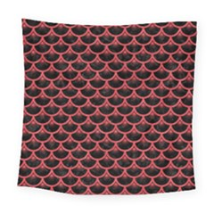 Scales3 Black Marble & Red Colored Pencil (r) Square Tapestry (large) by trendistuff