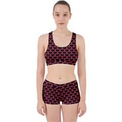 Scales3 Black Marble & Red Colored Pencil (r) Work It Out Sports Bra Set by trendistuff