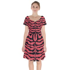 Skin2 Black Marble & Red Colored Pencil Short Sleeve Bardot Dress