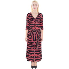 Skin2 Black Marble & Red Colored Pencil (r) Quarter Sleeve Wrap Maxi Dress by trendistuff
