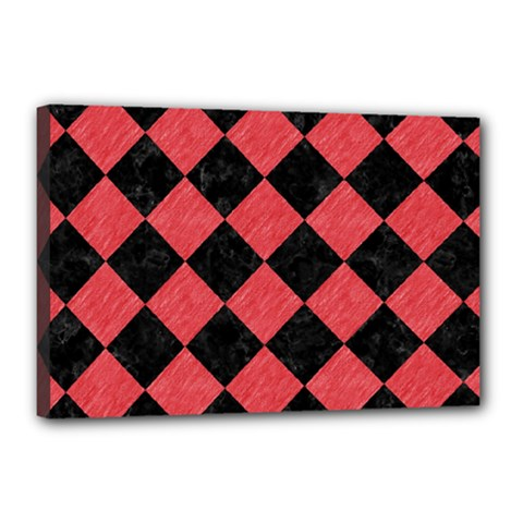 Square2 Black Marble & Red Colored Pencil Canvas 18  X 12  by trendistuff