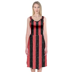 Stripes1 Black Marble & Red Colored Pencil Midi Sleeveless Dress