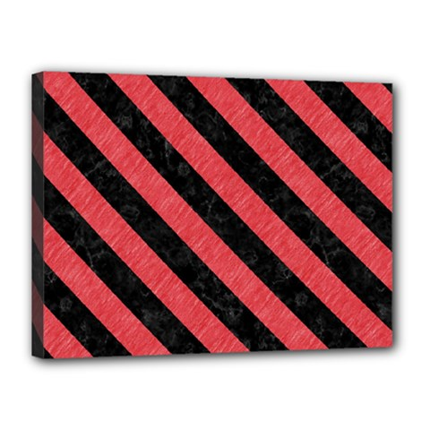 Stripes3 Black Marble & Red Colored Pencil Canvas 16  X 12  by trendistuff