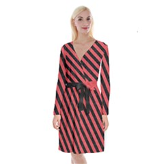 Stripes3 Black Marble & Red Colored Pencil Long Sleeve Velvet Front Wrap Dress