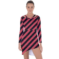 Stripes3 Black Marble & Red Colored Pencil (r) Asymmetric Cut Out Shift Dress
