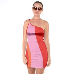 Retro One Shoulder Ring Trim Bodycon Dress