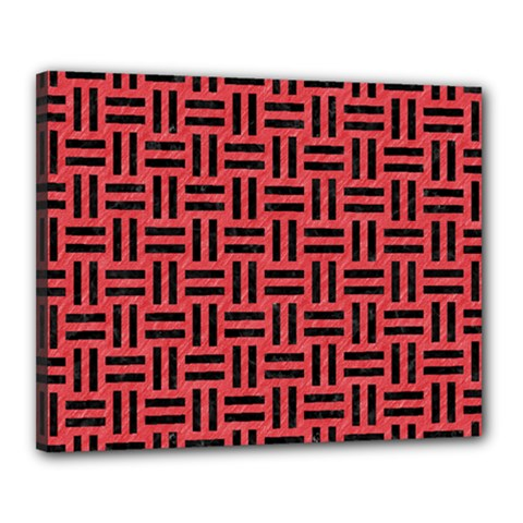 Woven1 Black Marble & Red Colored Pencil Canvas 20  X 16  by trendistuff